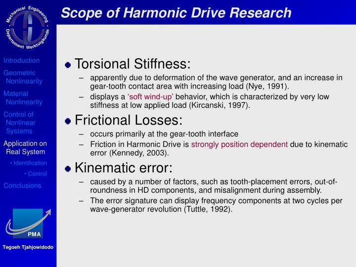 Scope of Harmonic Drive Research