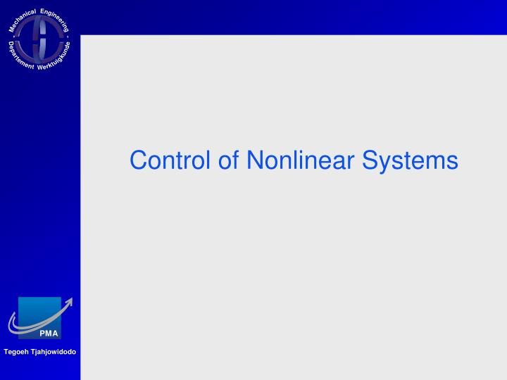 Control of Nonlinear Systems