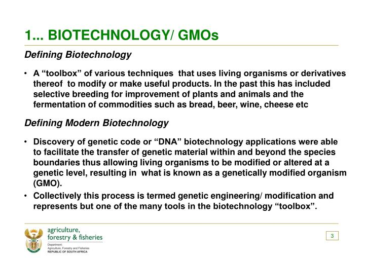 1... BIOTECHNOLOGY/ GMOs