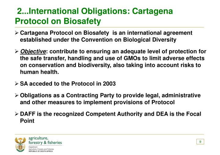 2...International Obligations: Cartagena Protocol on Biosafety