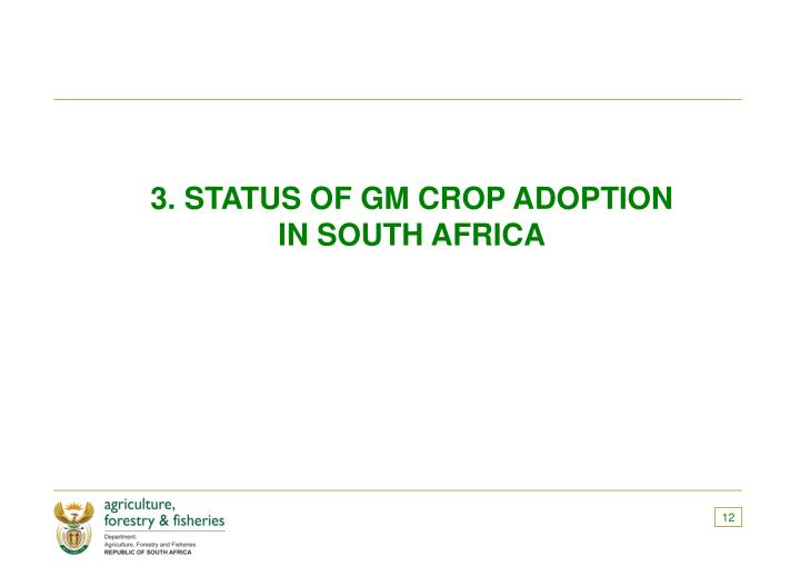 3. STATUS OF GM CROP ADOPTION