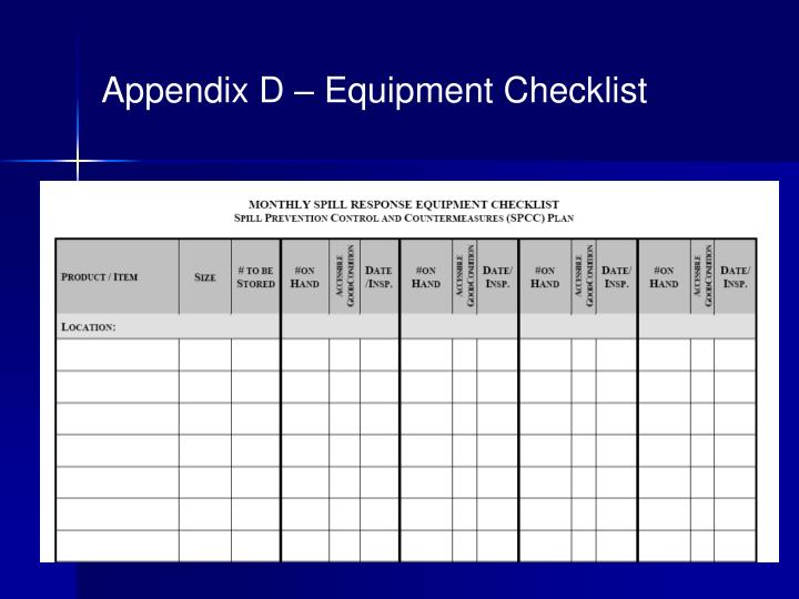 Appendix D – Equipment Checklist