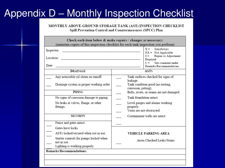Appendix D – Monthly Inspection Checklist