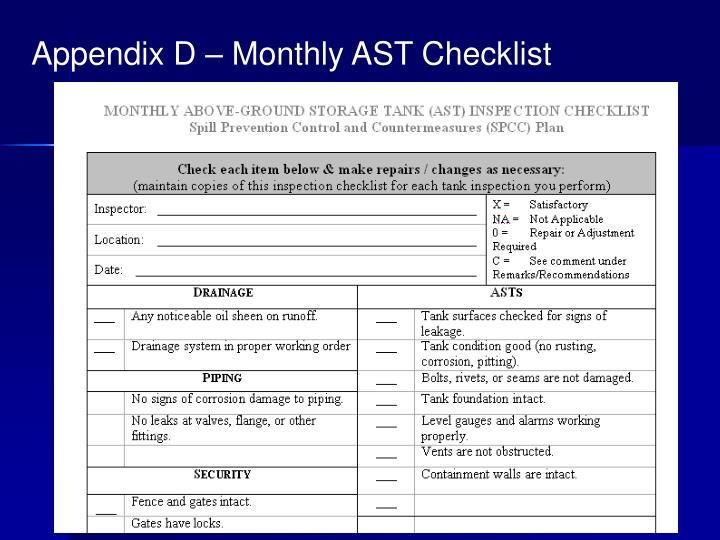 Appendix D – Monthly AST Checklist