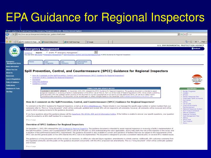 EPA Guidance for Regional Inspectors