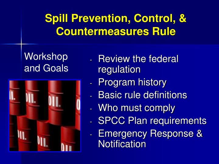 Spill prevention control countermeasures rule