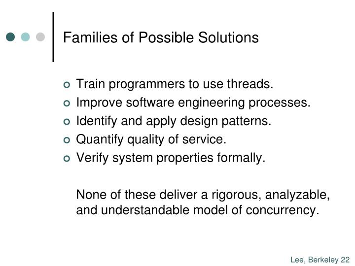 Families of Possible Solutions