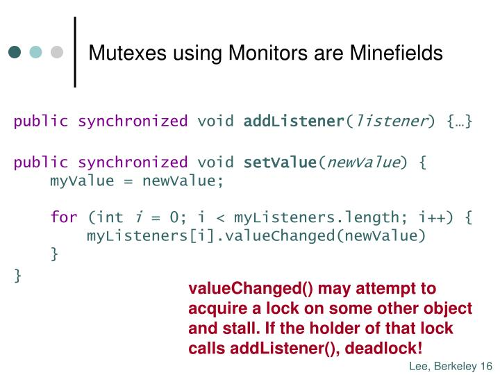 Mutexes using Monitors are Minefields