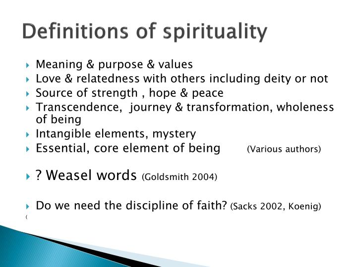 Definitions of spirituality