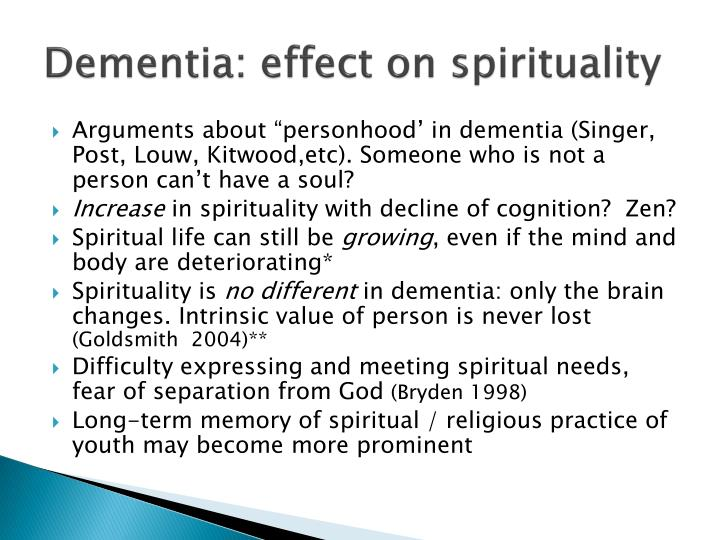 Dementia: effect on spirituality