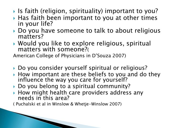 Is faith (religion, spirituality) important to you?