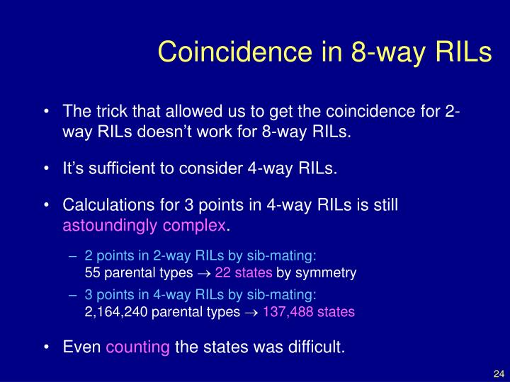 Coincidence in 8-way RILs