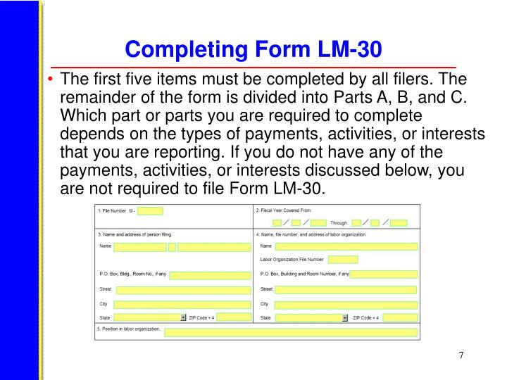 Completing Form LM-30