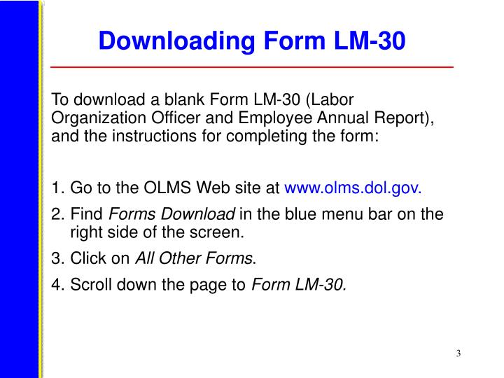 Downloading form lm 30