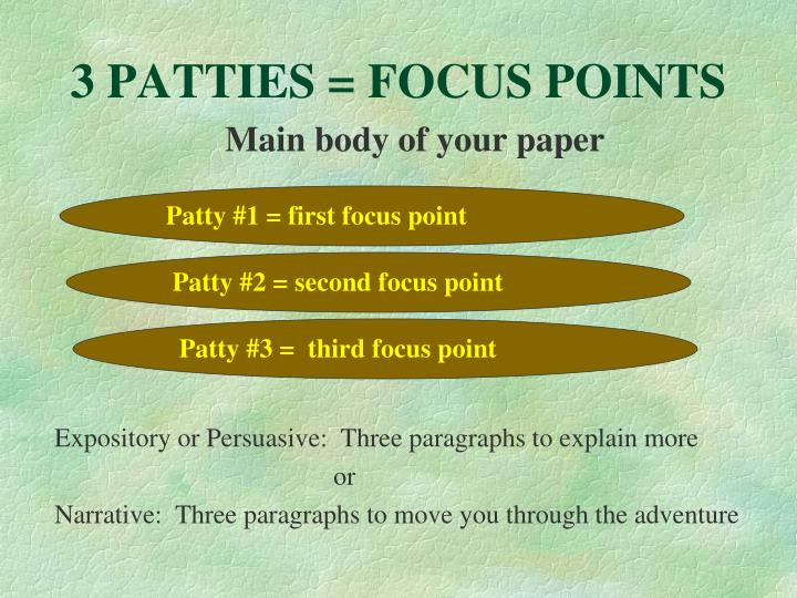 3 PATTIES = FOCUS POINTS