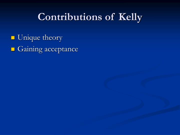 Contributions of Kelly