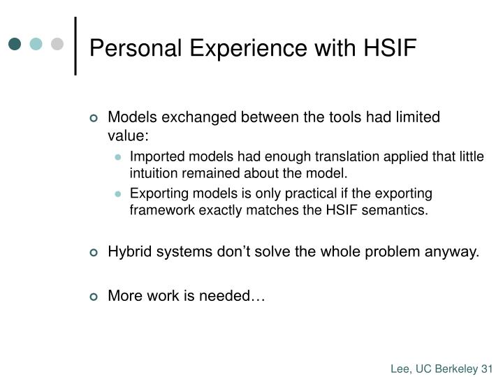 Personal Experience with HSIF