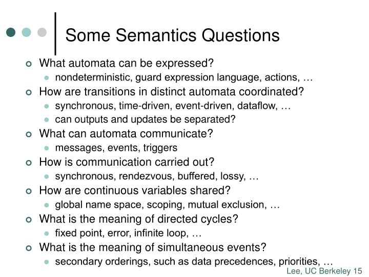 Some Semantics Questions