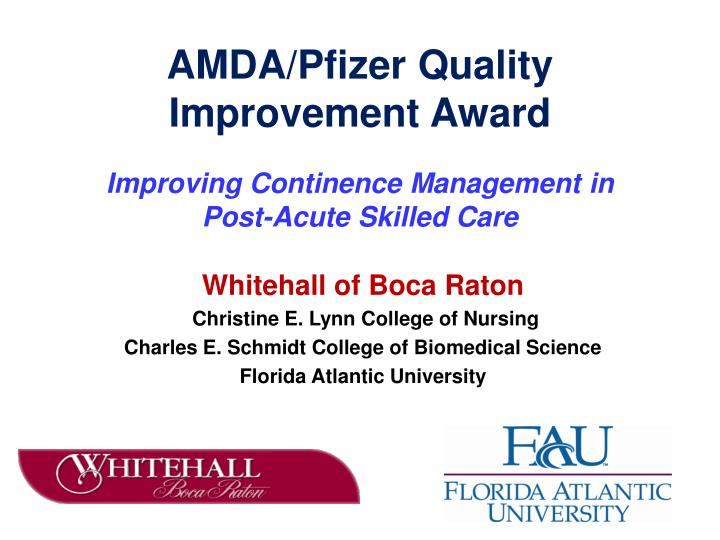 Amda pfizer quality improvement award
