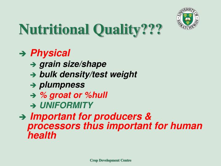 Nutritional Quality???