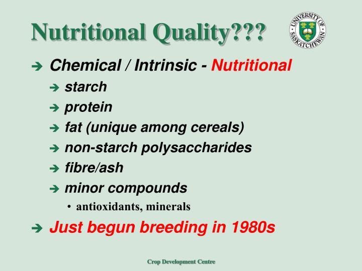 Nutritional Quality???