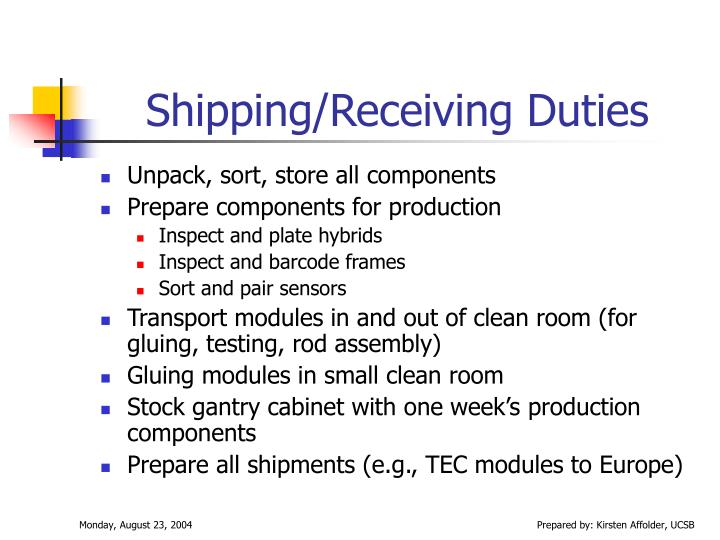 Shipping/Receiving Duties