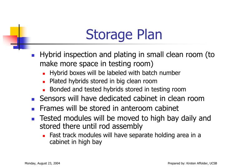 Storage Plan