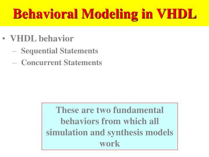 Behavioral Modeling in VHDL