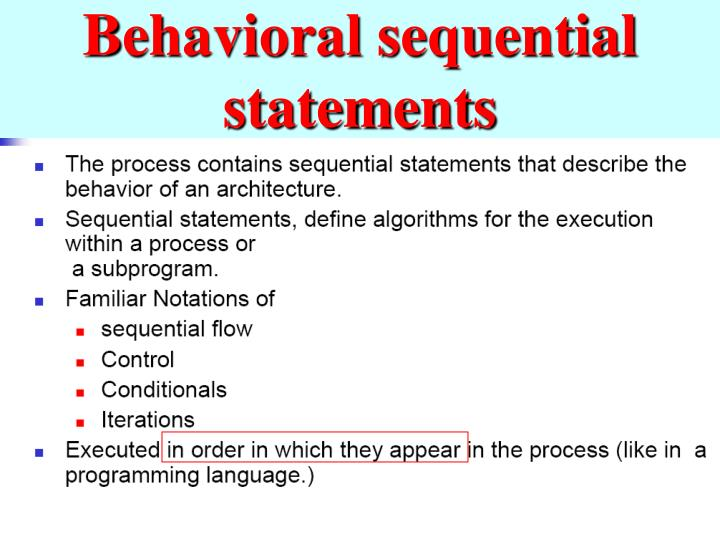 Behavioral sequential statements