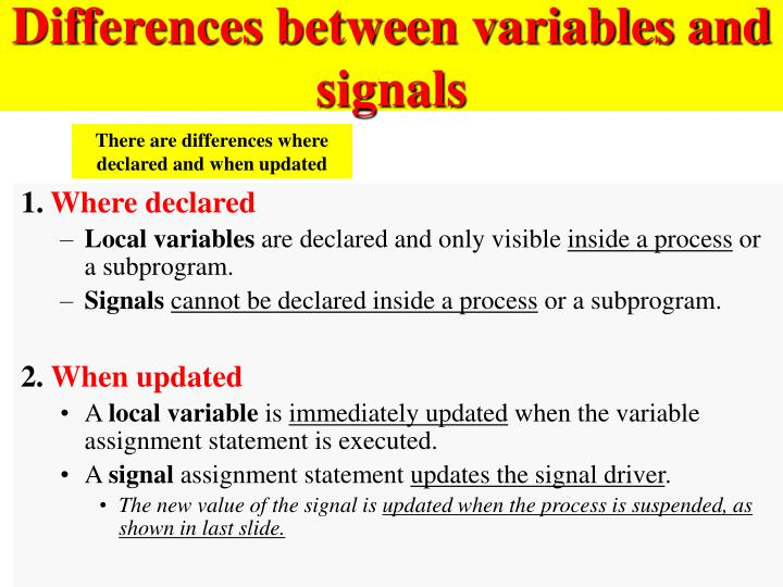 Differences between variables and signals
