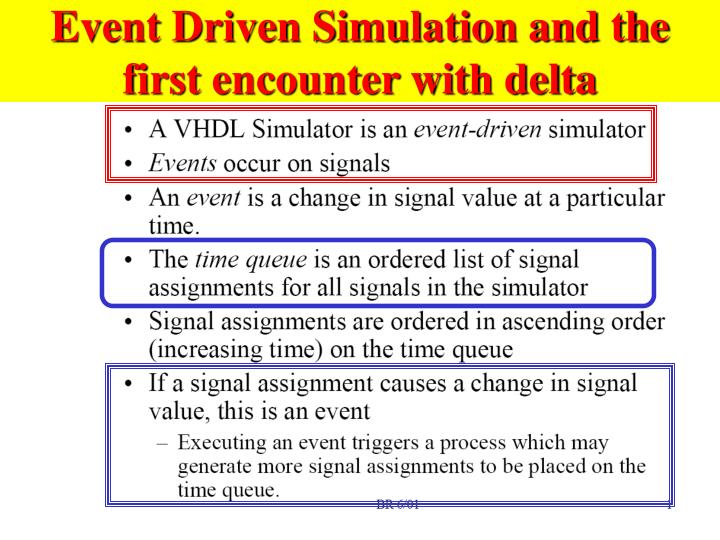 Event driven simulation and the first encounter with delta