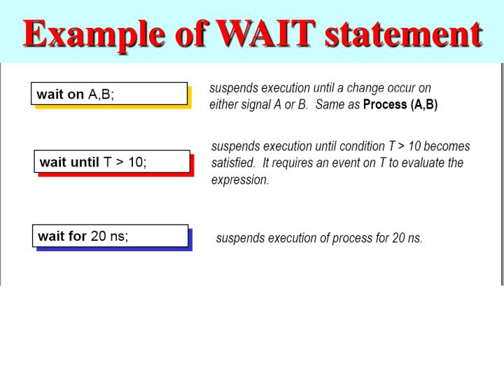 Example of WAIT statement
