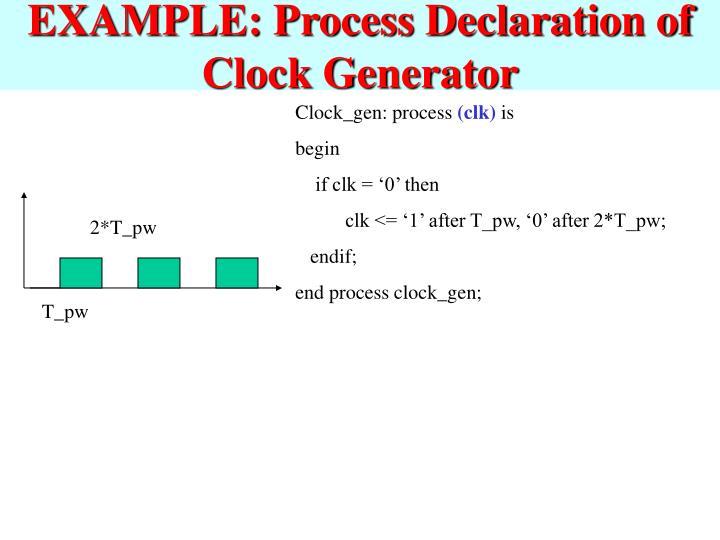 EXAMPLE: Process Declaration of Clock Generator