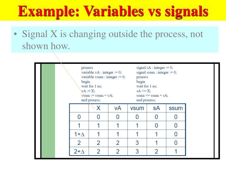 Example: Variables vs signals