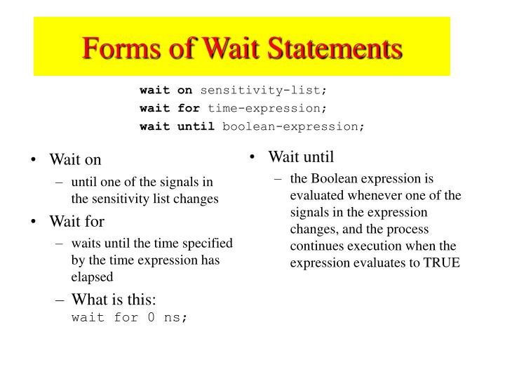 Forms of Wait Statements