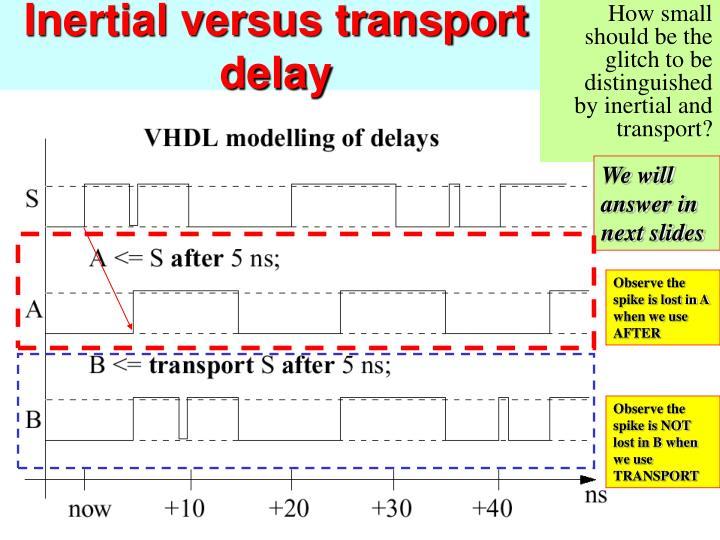 Inertial versus transport delay