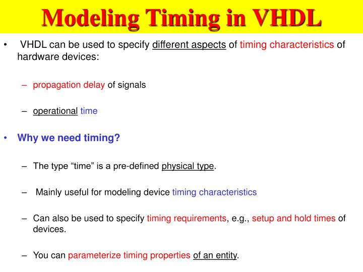 Modeling Timing in VHDL