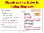 signals and variables in timing diagrams