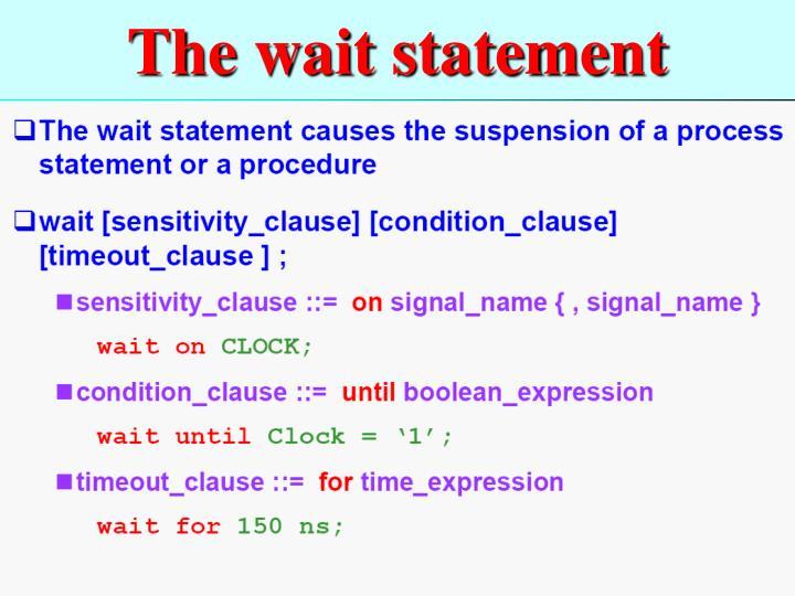 The wait statement