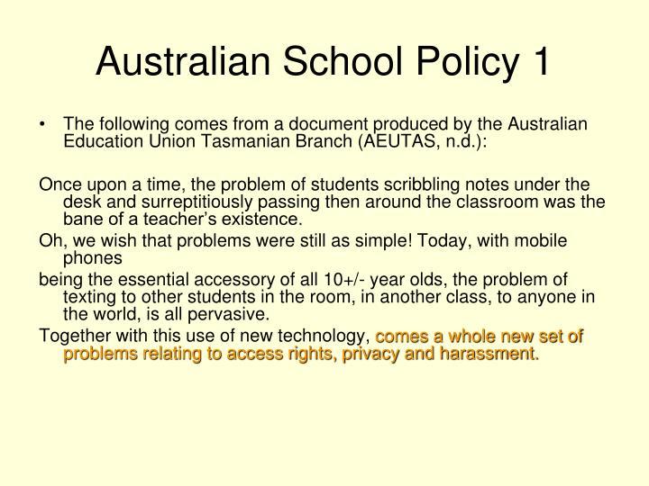 Australian School Policy 1