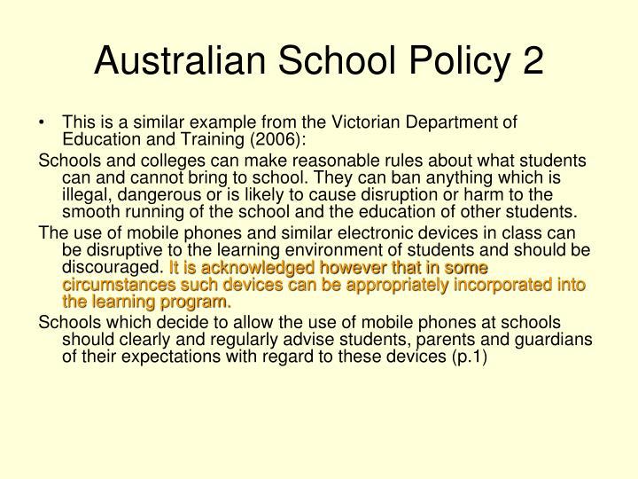 Australian School Policy 2