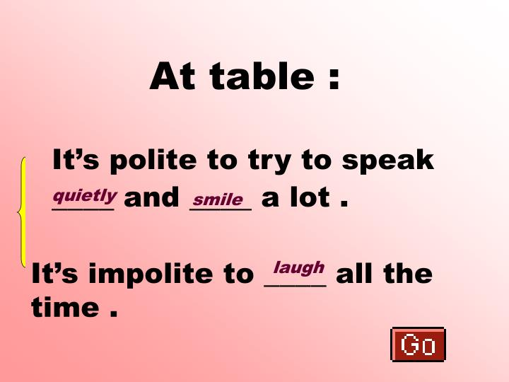 At table :