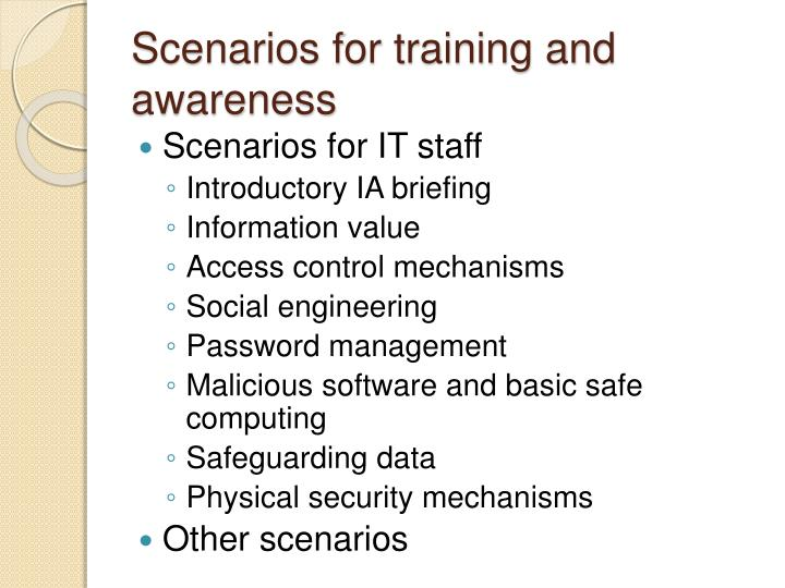 Scenarios for training and awareness