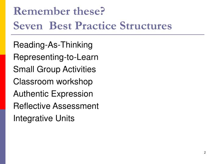 Remember these seven best practice structures