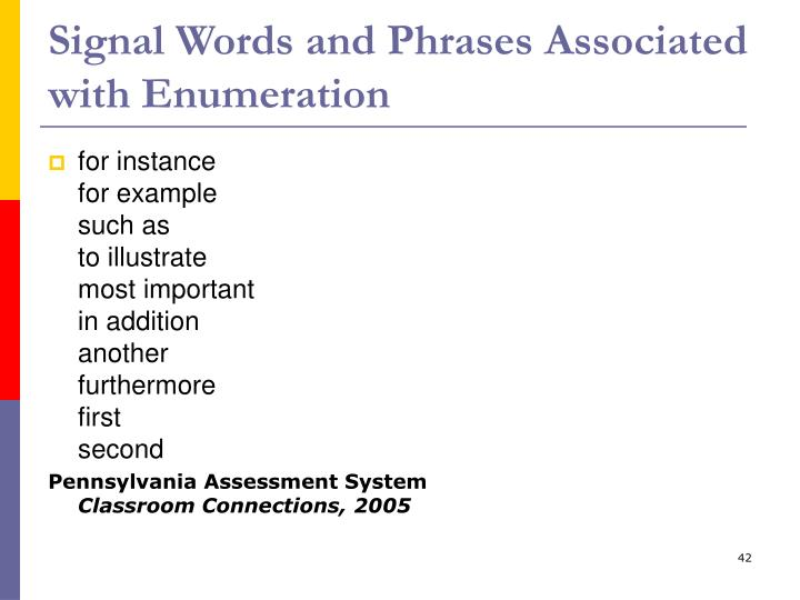 Signal Words and Phrases Associated with Enumeration