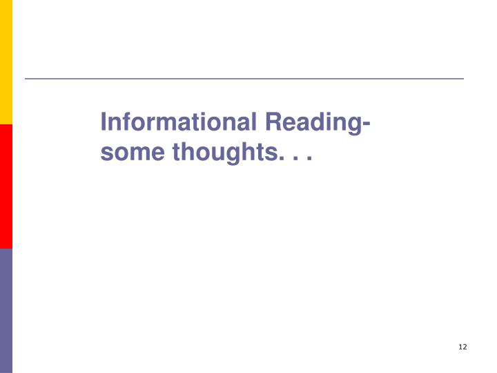 Informational Reading-