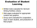 evaluation of student learning