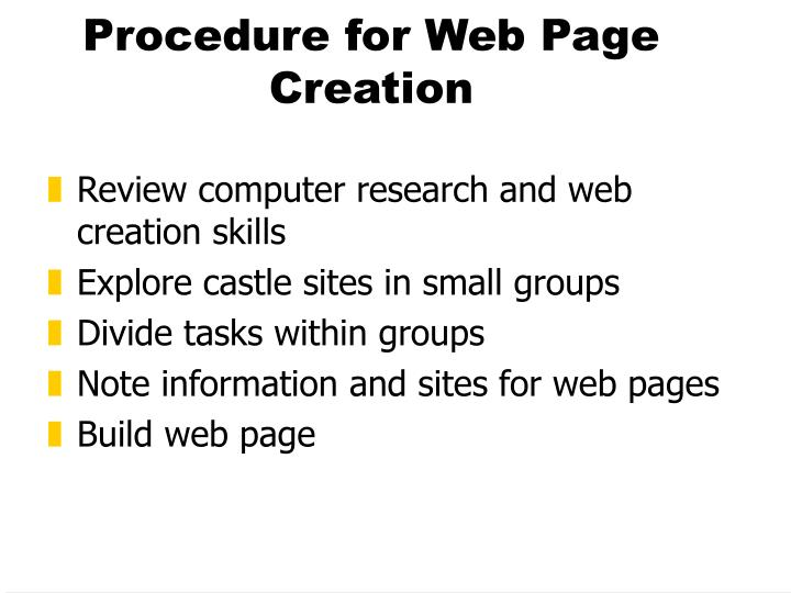 Procedure for Web Page Creation