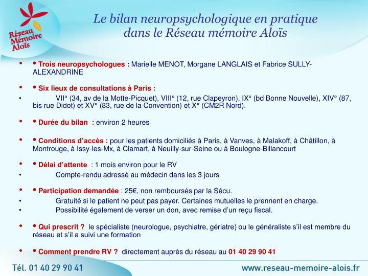 Le bilan neuropsychologique en pratique