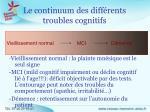 le continuum des diff rents troubles cognitifs